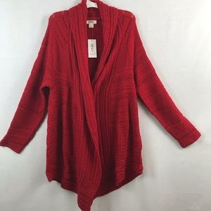 Style & Co Canyon Red Open Knit Cardigan